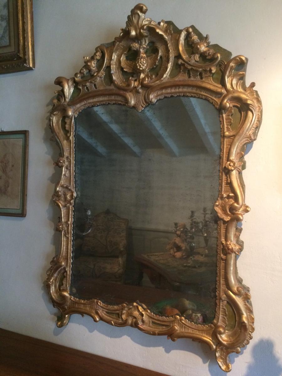 Miroir En Bois Sculpté Et Doré D'époque Louis XV-photo-4