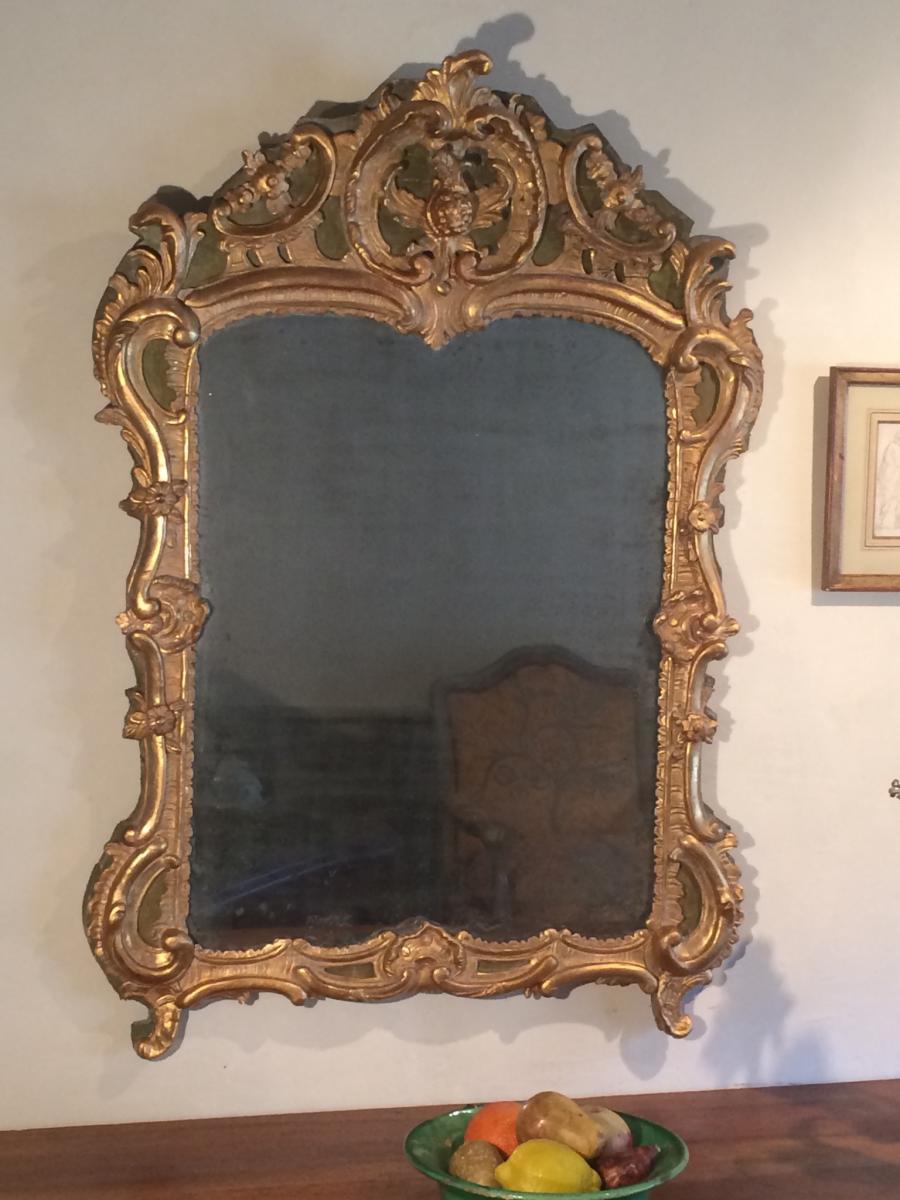 Miroir En Bois Sculpté Et Doré D'époque Louis XV-photo-3