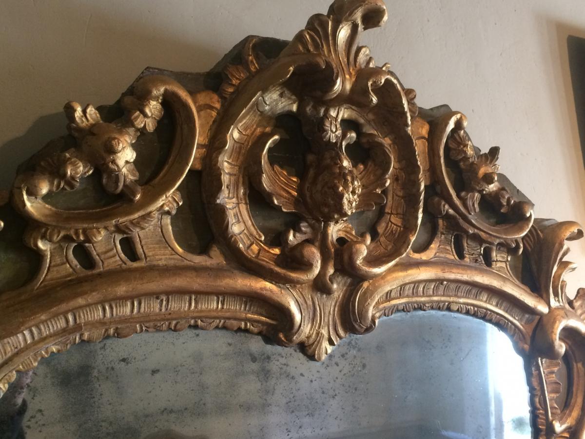 Miroir En Bois Sculpté Et Doré D'époque Louis XV-photo-5