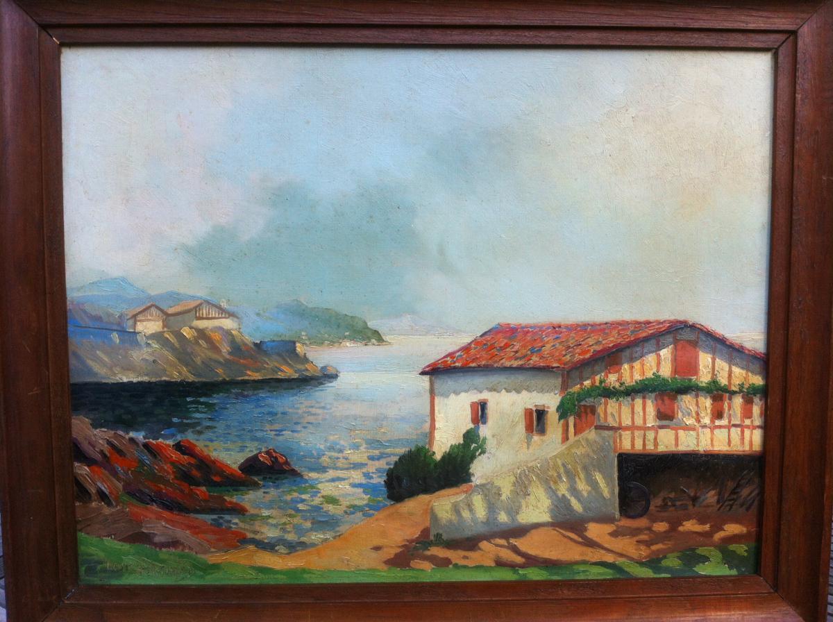 """Oil On Hardboard """"de La Rhune Guethary View"""" Signed Louis Bertrand"""