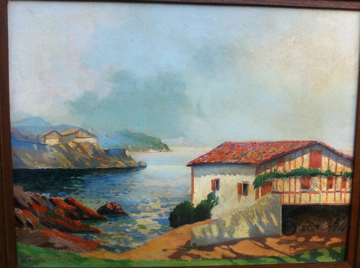 """Oil On Hardboard """"de La Rhune Guethary View"""" Signed Louis Bertrand-photo-2"""