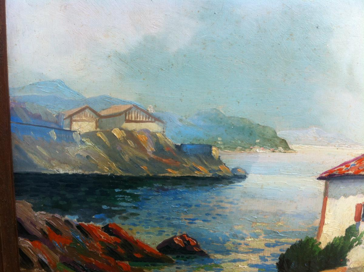 """Oil On Hardboard """"de La Rhune Guethary View"""" Signed Louis Bertrand-photo-3"""
