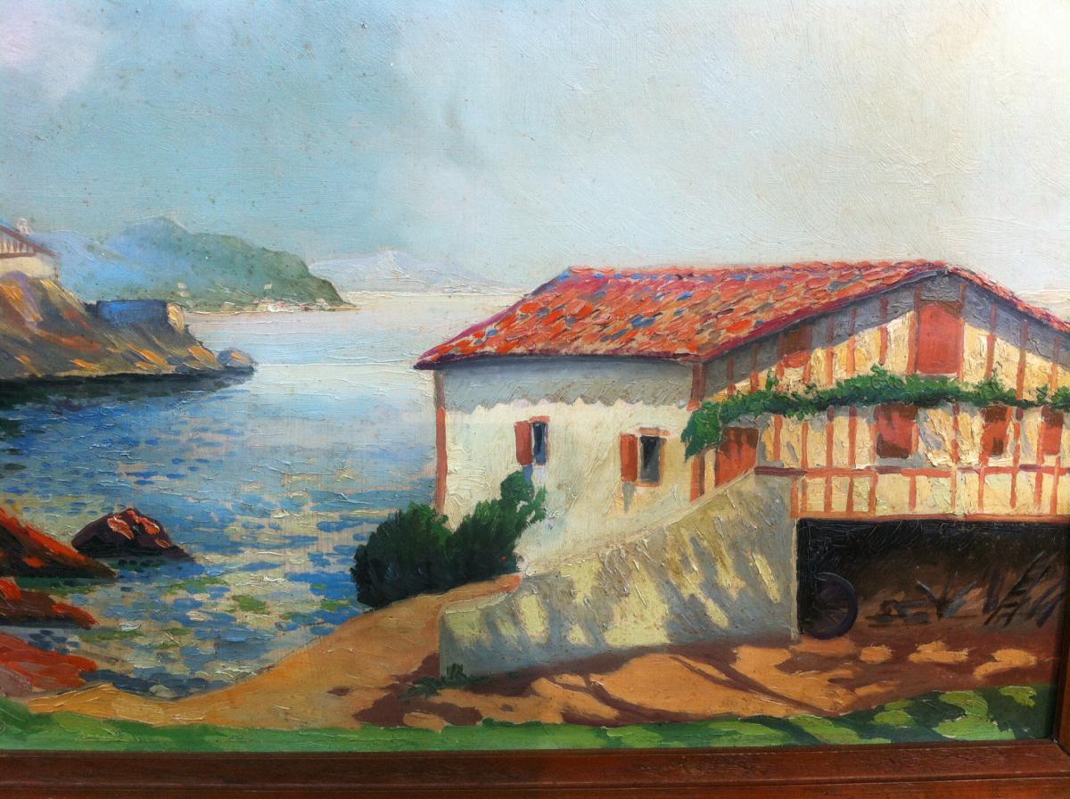 """Oil On Hardboard """"de La Rhune Guethary View"""" Signed Louis Bertrand-photo-4"""