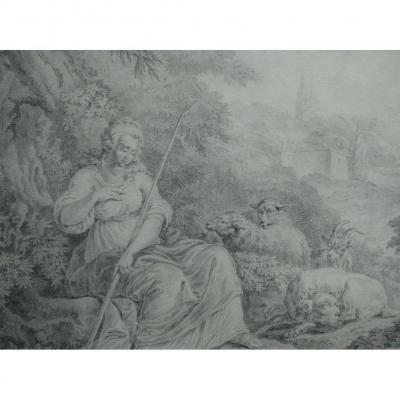 Grand Dessin, Attribué à Jean-baptiste Huet ( 1745-1811 )