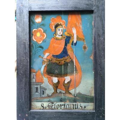 San Florianus, Europe Centrale Peinture Sous Verre XVIII éme