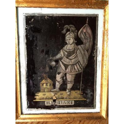 Saint Florian éteignant l'Incendie, Peinture Sous Verre, Europe Centrale XVIII éme