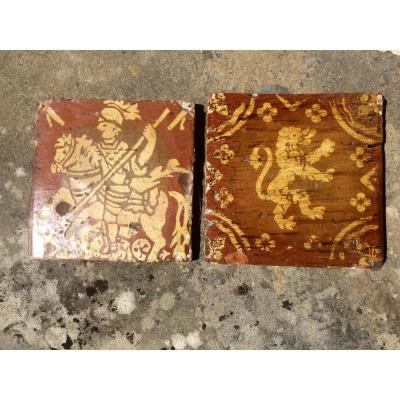 In Two Tiles Glazed Earth In St Georges De Decor And A Lion XVII