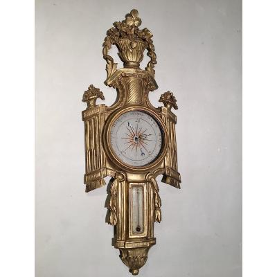 Barometer XVIII Th Carved And Gilded Wood