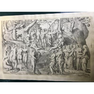 Mythological Engraving The Challenge Of The Piérides After Pierino Del Vaga XVI Th