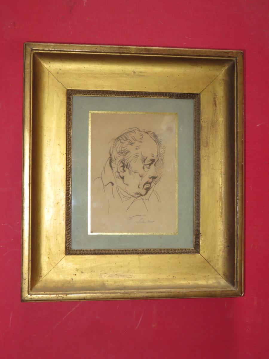Dessin à La Plume, portrait d'homme, époque 18ème.