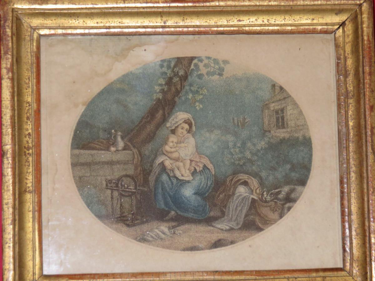 """"""" Jeune Femme à l'Enfant  """", Eau-forte époque 18ème."""