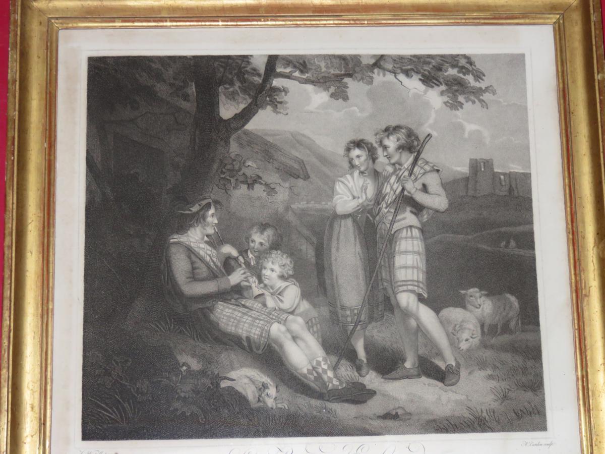 """"""" Les Bergers Ecossais """", Gravure Datée 1807."""