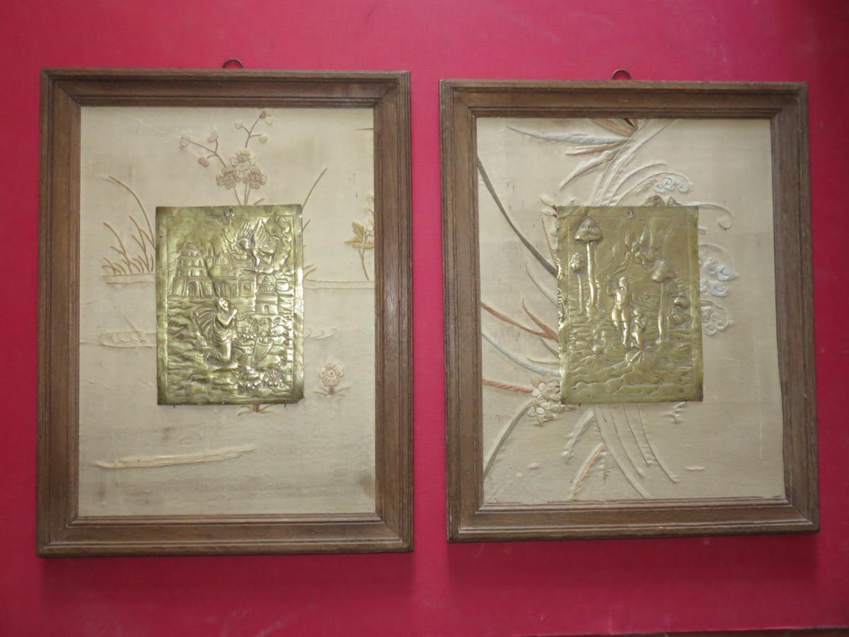 Pair Of Brass With Angels And Characters, Then 17th.
