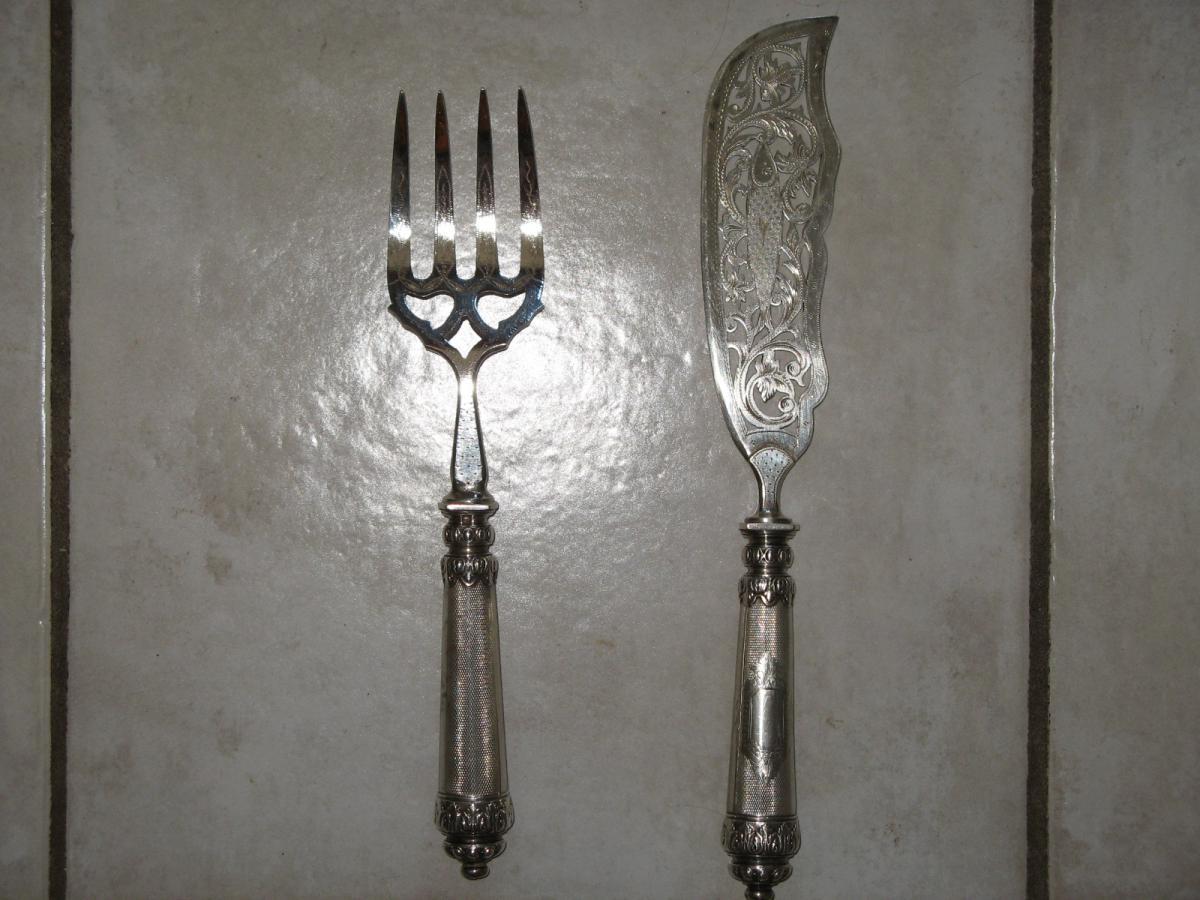 Couteau poisson avec fourchette en argent 19 me argenterie - Fourchette en argent prix ...