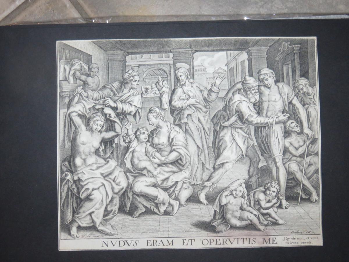 Scène Avec Hommes, Femmes Et Enfants, Eau-forte époque 17ème.
