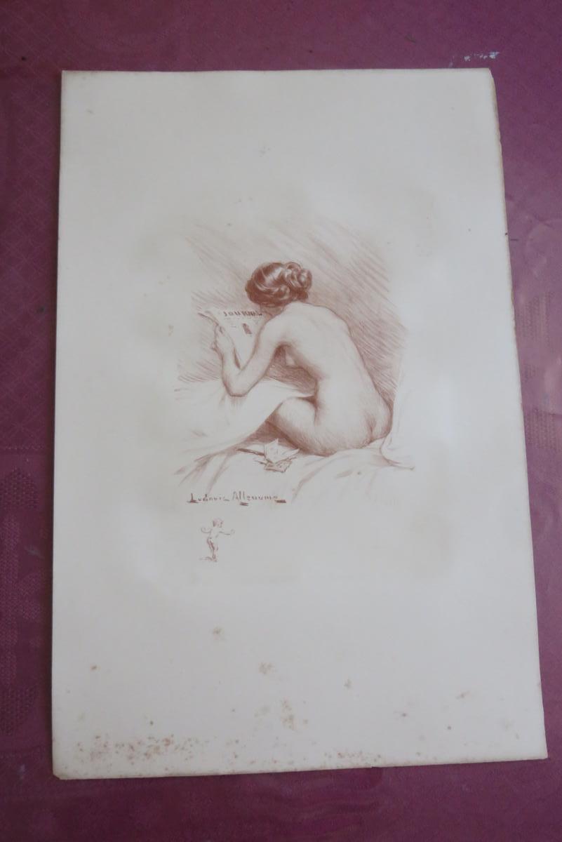 """Le """" Journal """", Nu Féminin,  Lithographie en Sanguine époque  20 ème."""