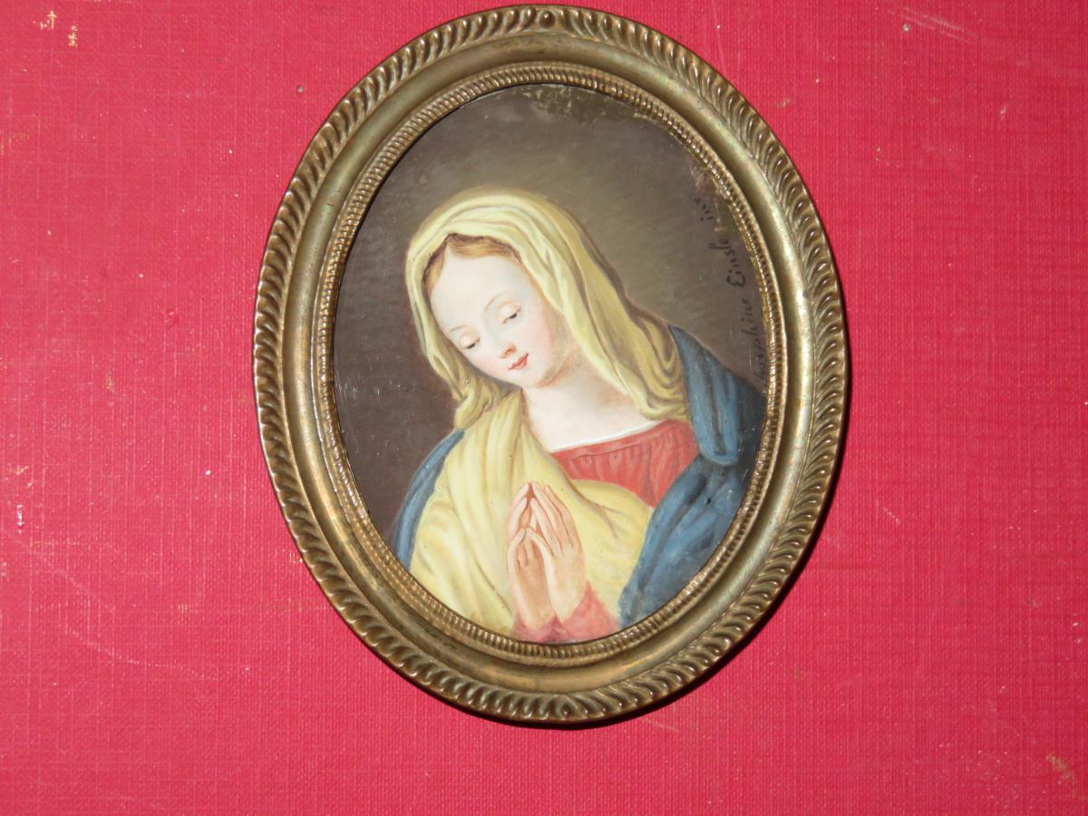 Virgin In Prayer, Miniature On Ivory Dated 1824.