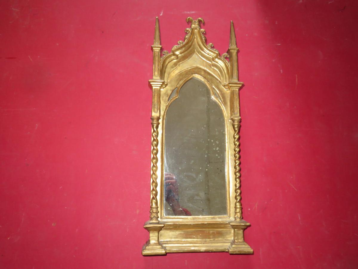 Miroir de forme cath drale en bois dor poque 19 me for Miroir des modes value
