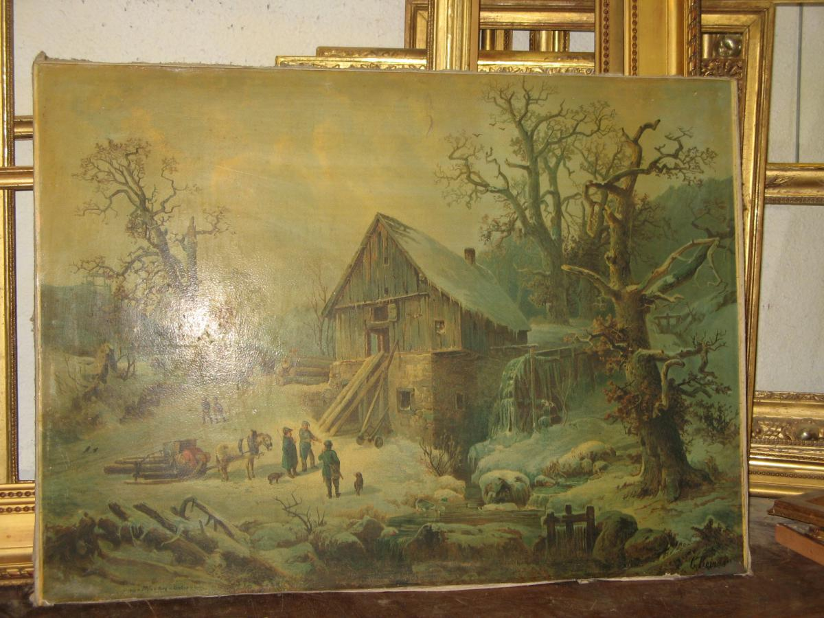 Chromolithograph Hard Canvas, Snowy Landscape, Late 19th.