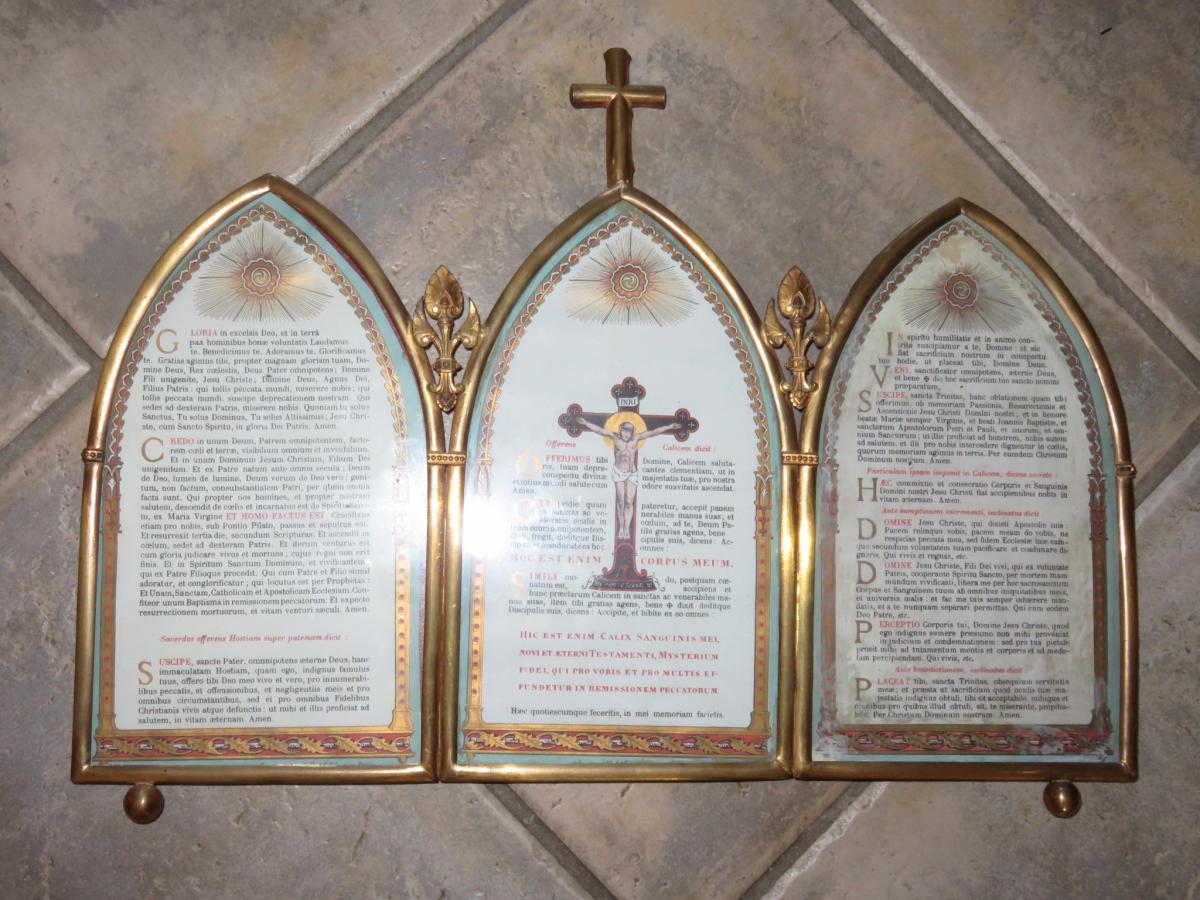 Canon d'Autel Eglise, Triptyque époque Fin 19ème.
