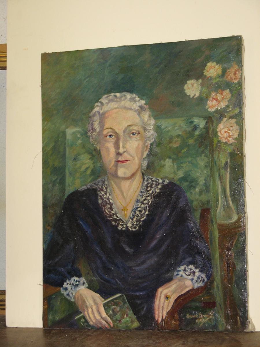 Painting, Portrait Of Woman, 20th, Signed Jeanne Drouet.