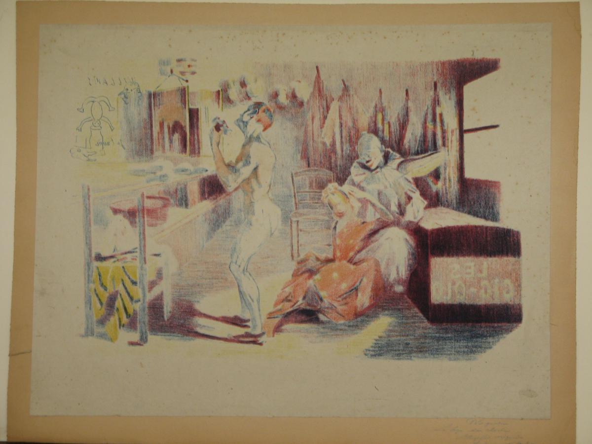 Lithographie Originale, De Wagner, La Loge Du Clown, 20ème.