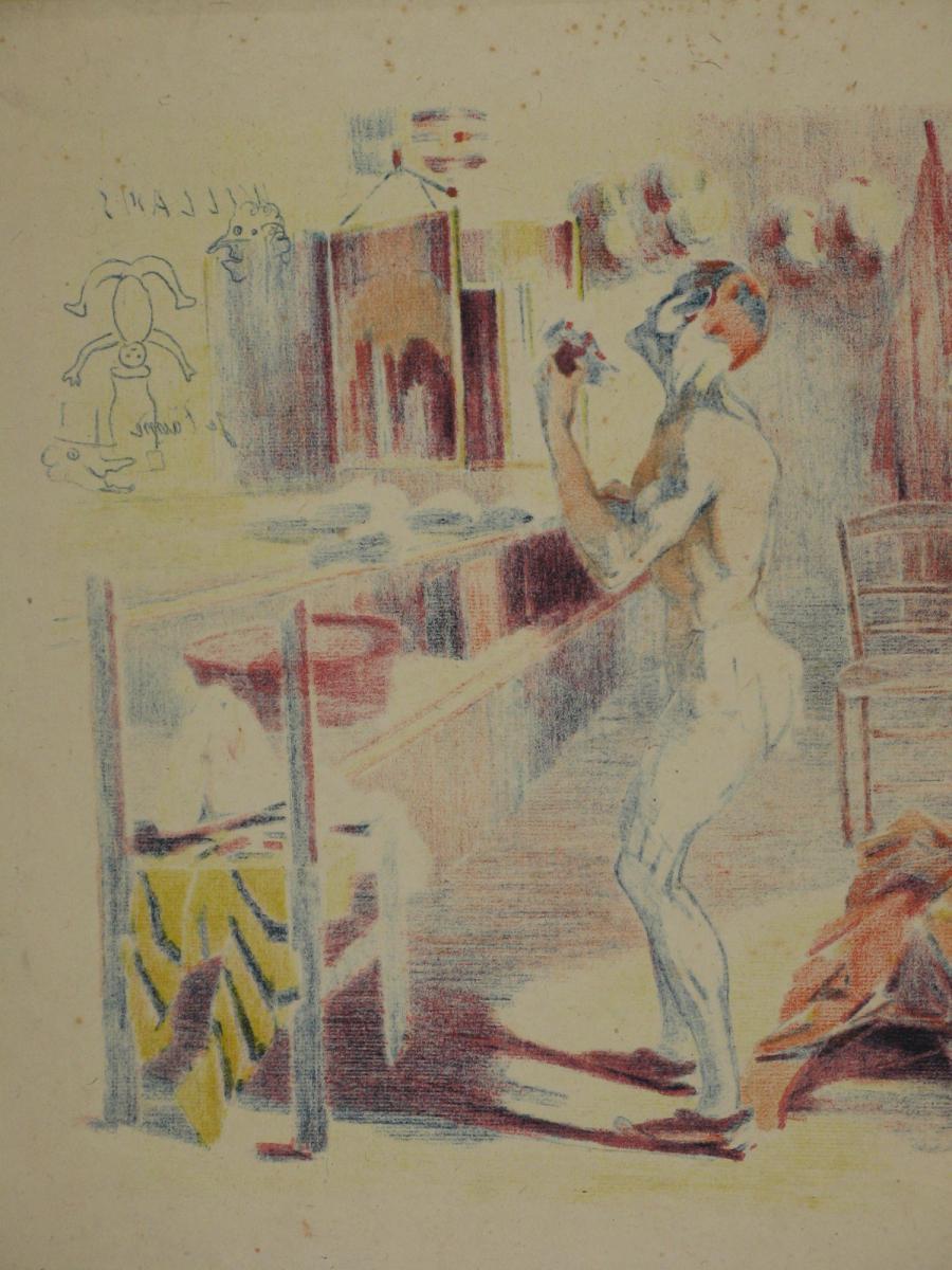 Lithographie Originale, De Wagner, La Loge Du Clown, 20ème.-photo-2
