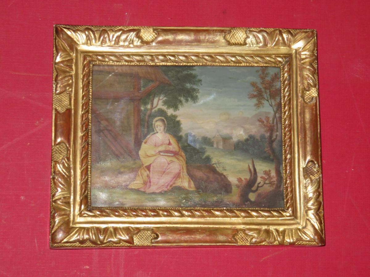 """holy Meditating"" Gouache With Frame, 18th Century."