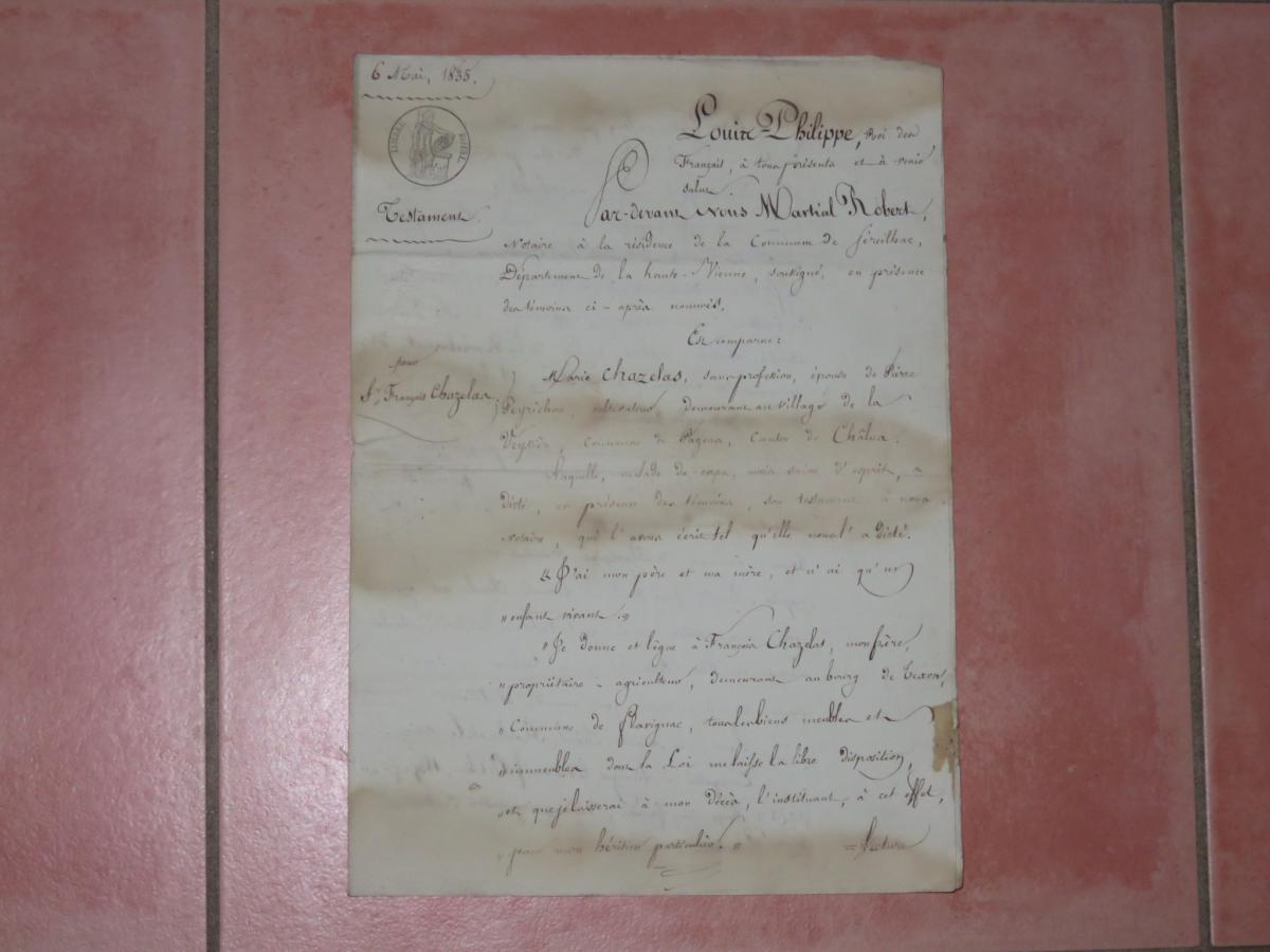 Letter With Header Louis Philippe, Dated From 1835.