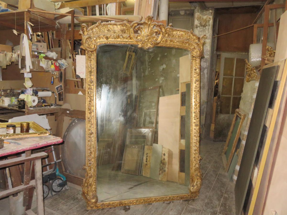 tr s grand miroir 2 25 m poque 19 me en bois dor miroirs. Black Bedroom Furniture Sets. Home Design Ideas