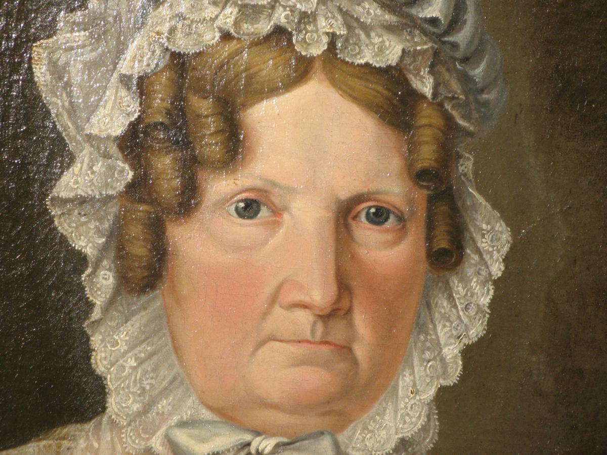 Sehr Peinture 19ème, Portrait De Femme Avec Son Cadre Ovale. - Tableaux  GD95