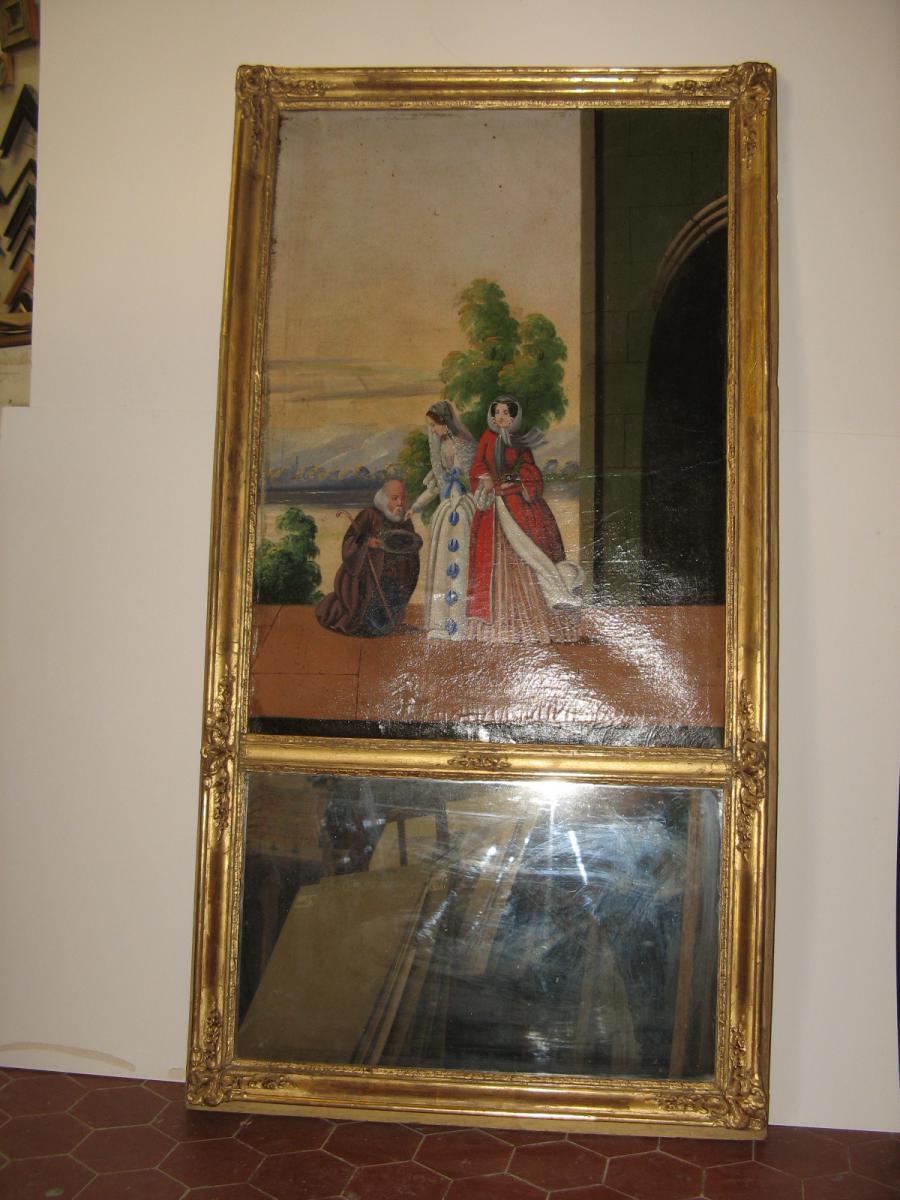 Trumeau avec peinture jeunes femmes poque 19 me trumeaux for Miroir trumeau ancien