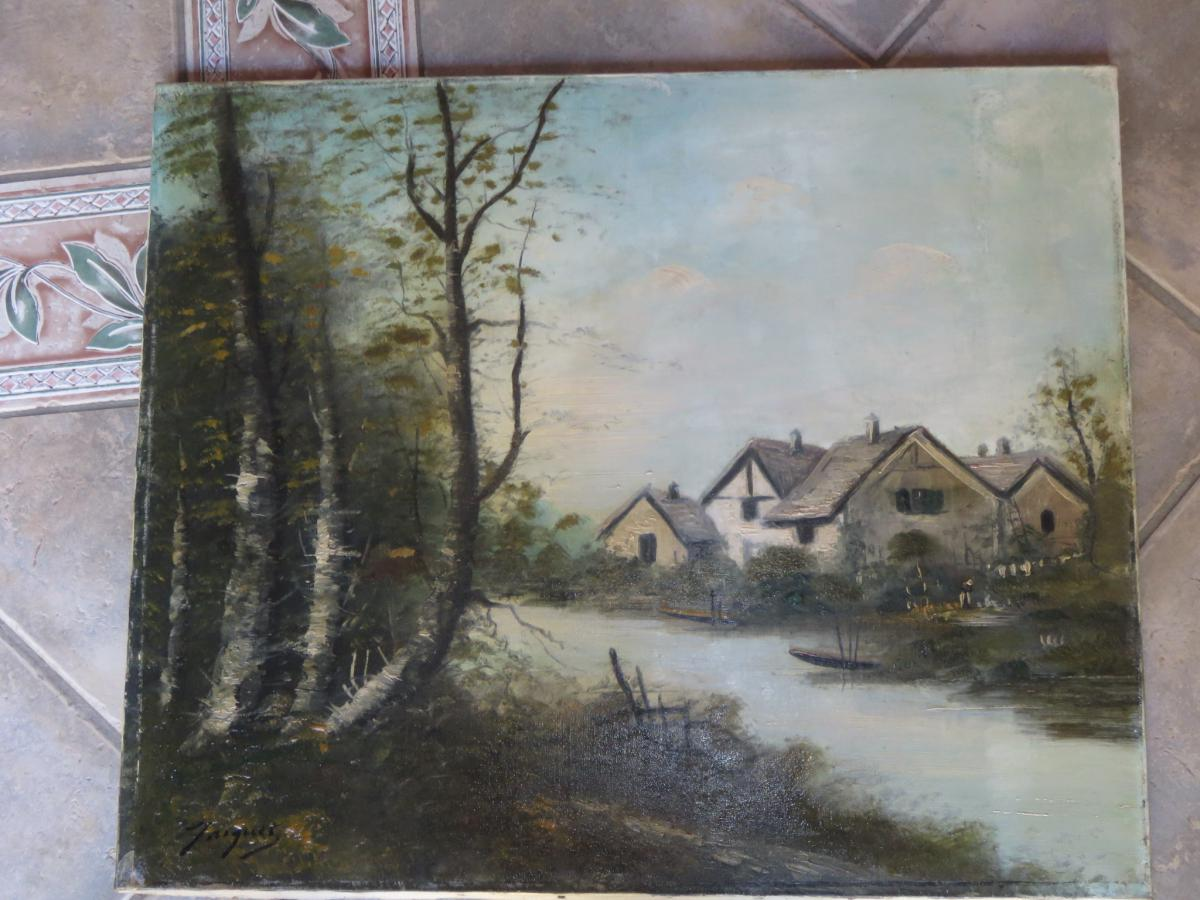 Landscape Painting Signed Jacquet 19th Time.