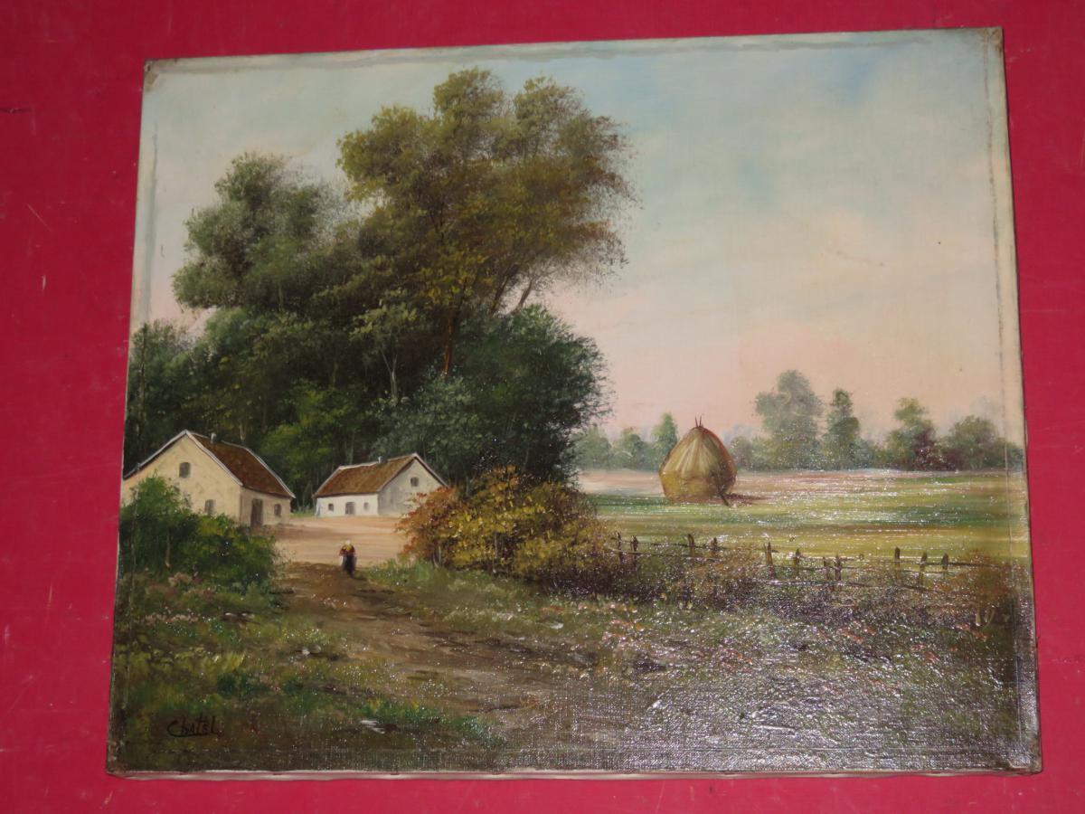 Scène De Campagne, Peinture époque 19ème.