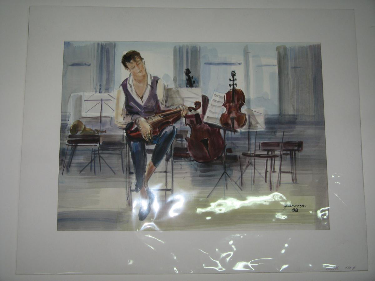 Watercolor, Musician, 20th Time.