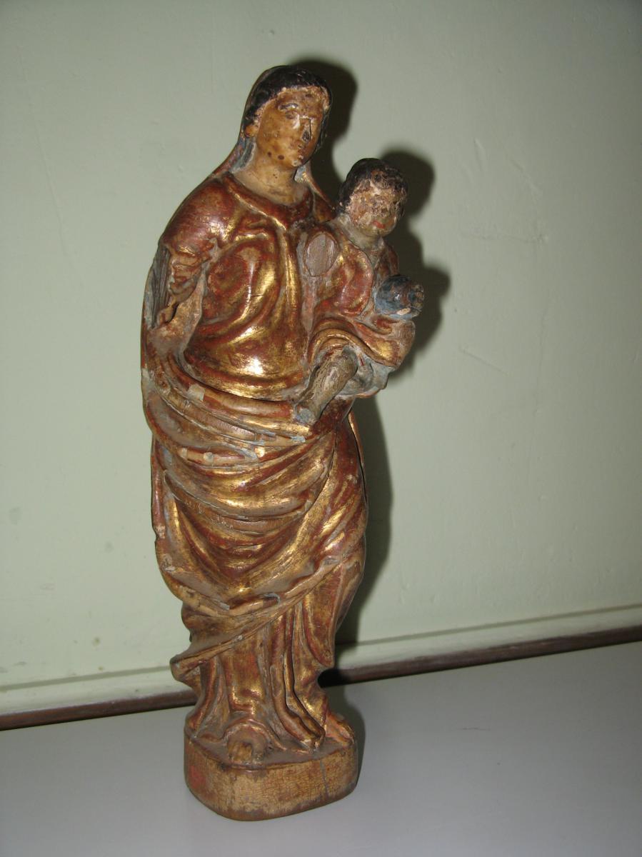Statue : Vierge à l'Enfant, Bois Sculpté, époque 18ème.