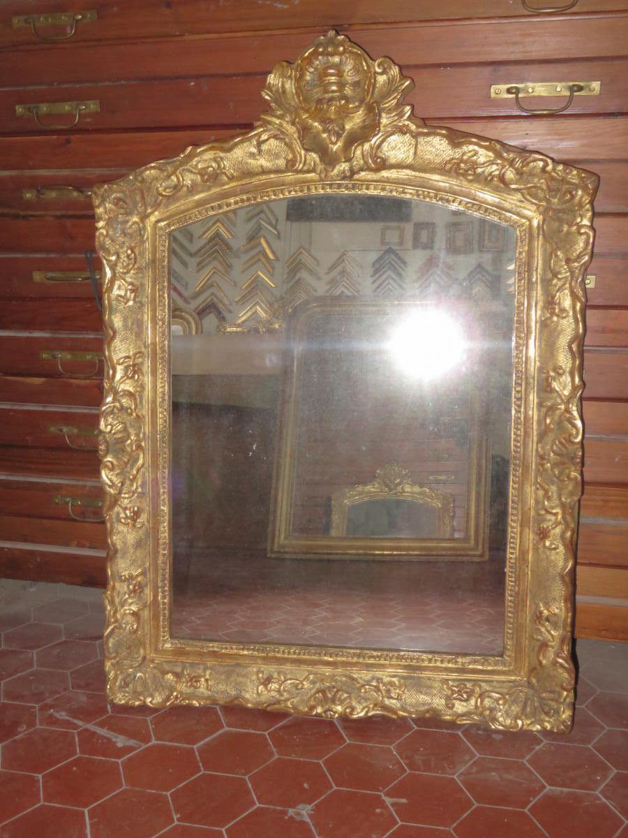 Mirror 17th Time, Louis XIV Gilded Wood.