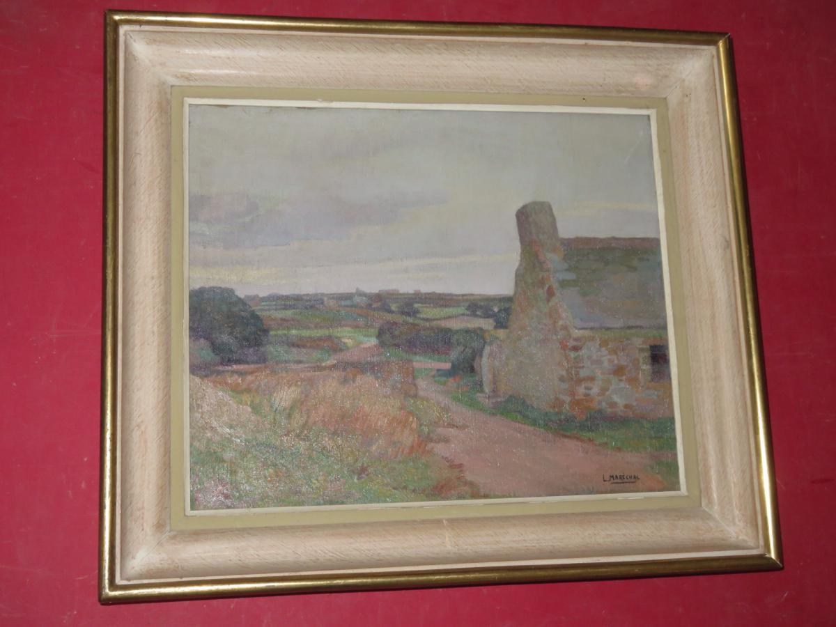 Landscape Breton Painting Signed Louis Marechal, 20 Days Em