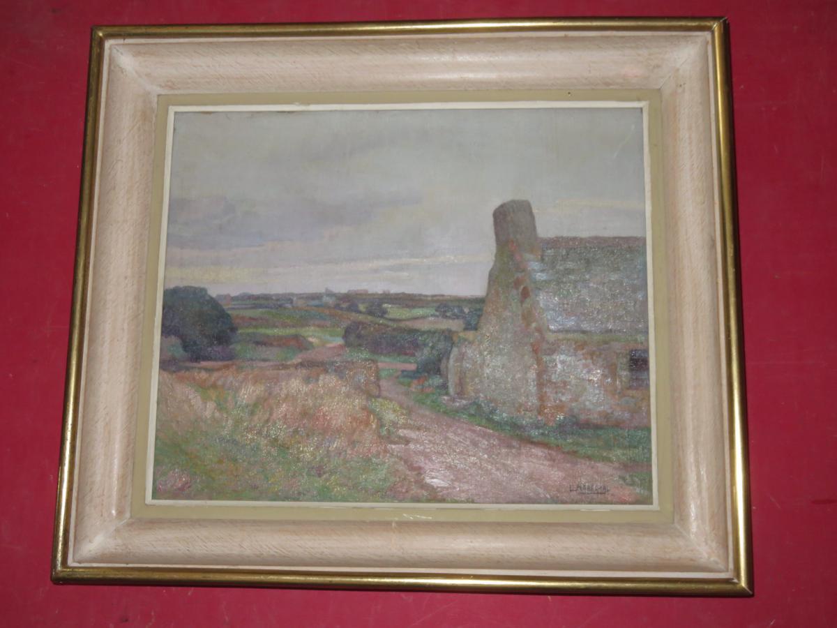 Landscape Breton Painting Signed Louis Marechal, 20 Days Em-photo-2