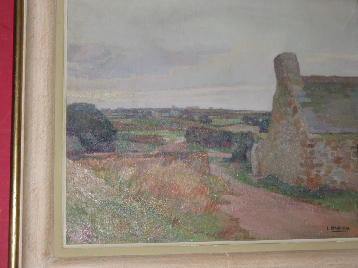 Landscape Breton Painting Signed Louis Marechal, 20 Days Em-photo-3