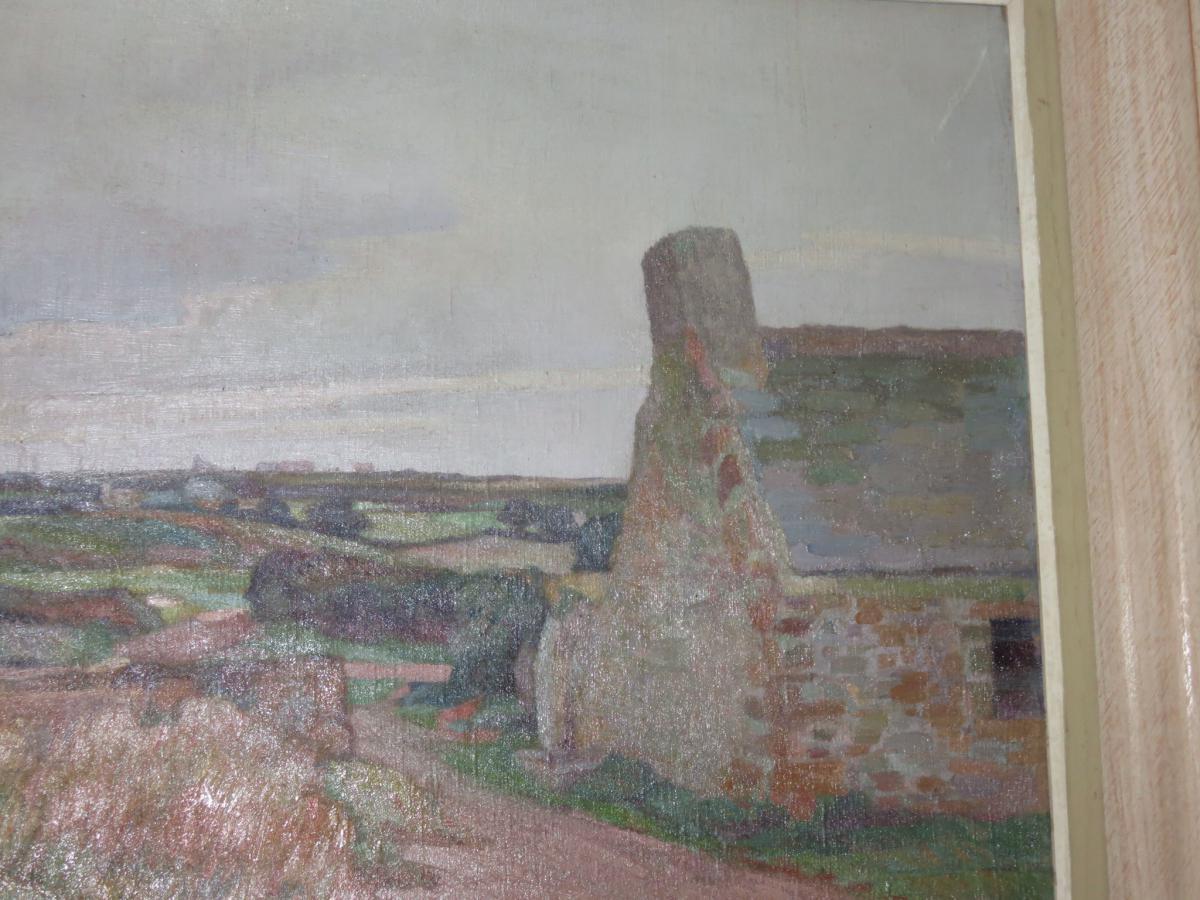 Landscape Breton Painting Signed Louis Marechal, 20 Days Em-photo-1
