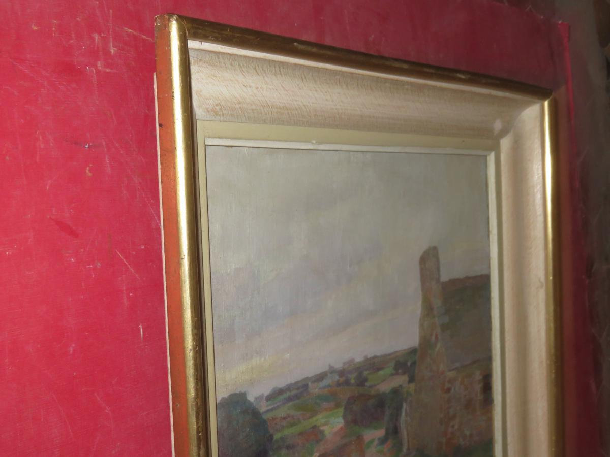 Landscape Breton Painting Signed Louis Marechal, 20 Days Em-photo-4