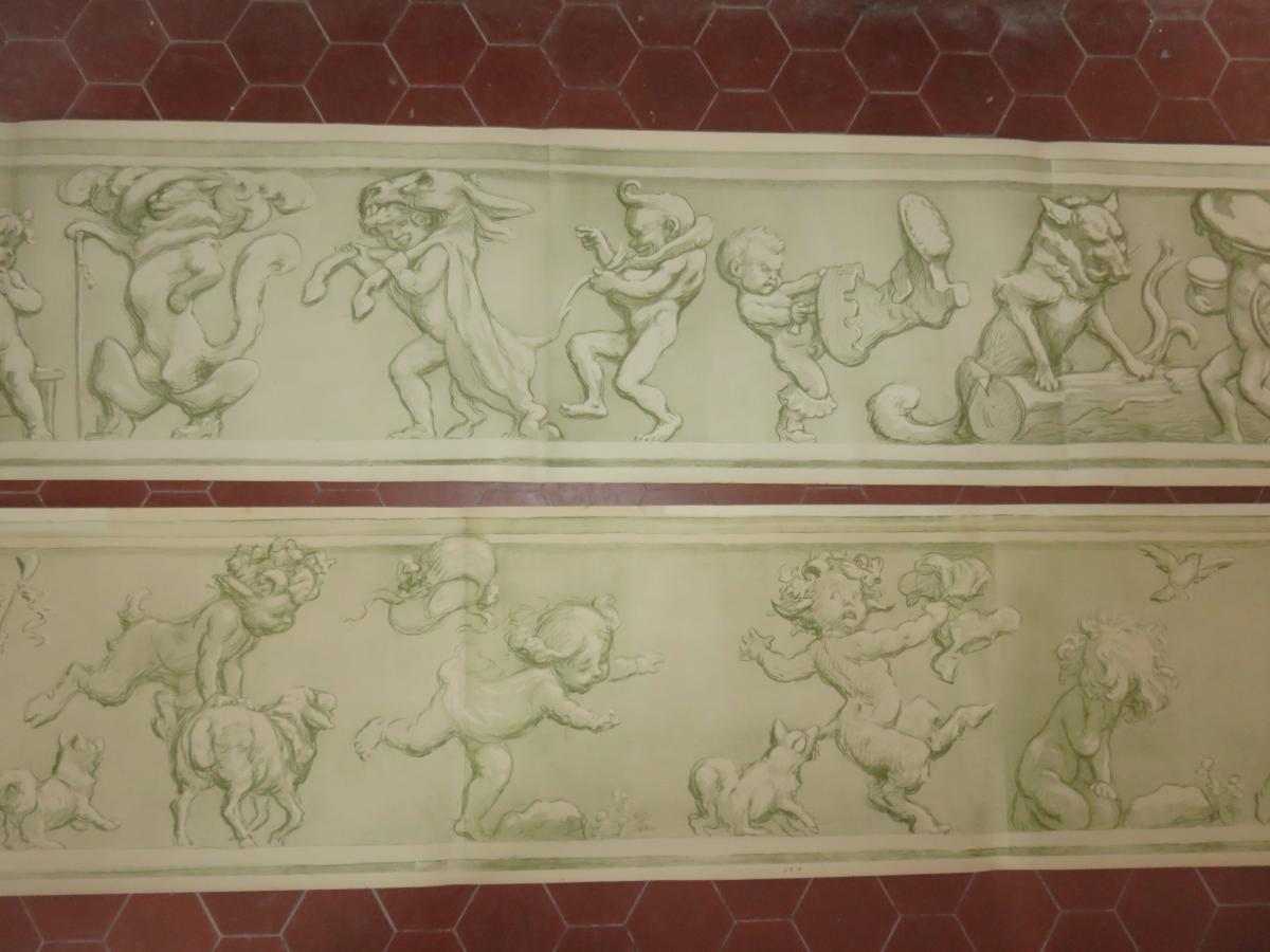 Grandes Gravures En Forme De Frises, époque 1900.