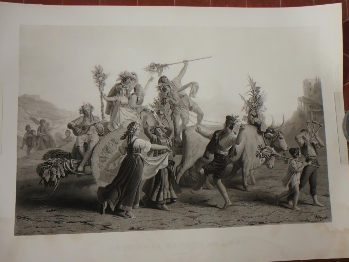 """"""" Fête De La Madone De l'Arc à Naples"""", Gravure époque 19ème"""