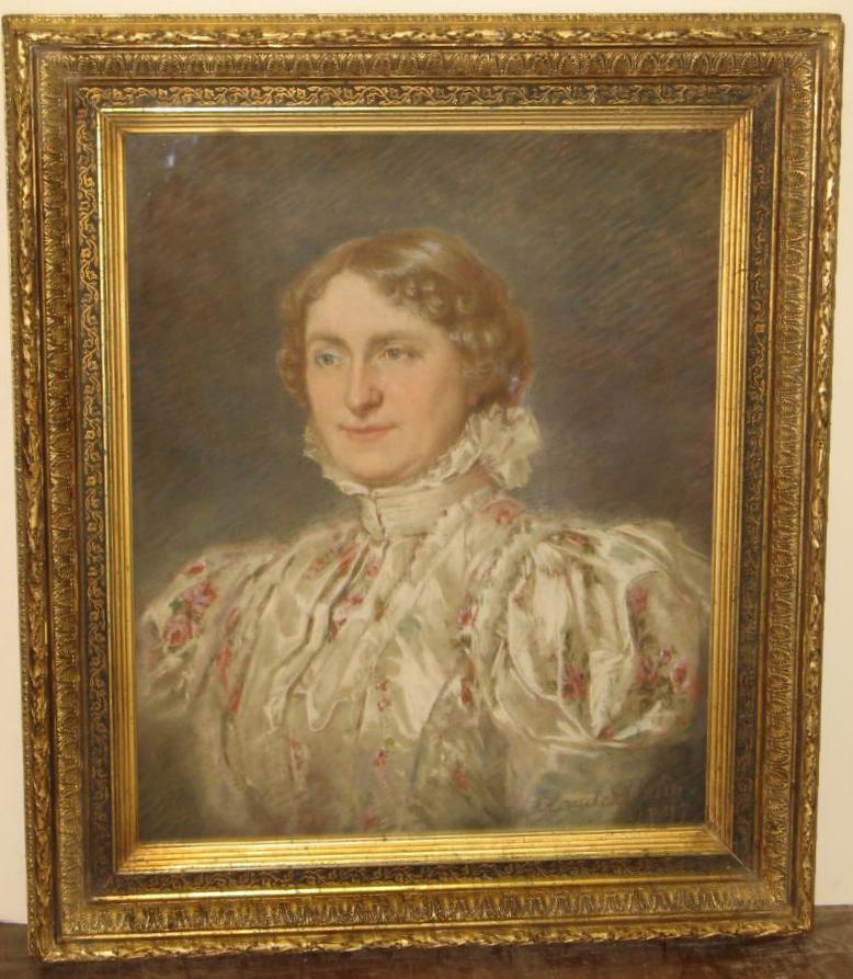 Pastel De Femme Avec Cadre, époque 19ème.