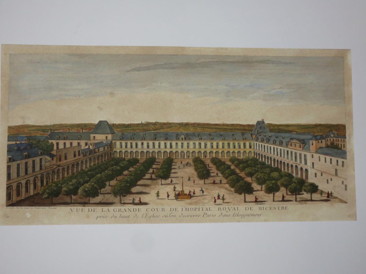 """"""" Vue De l'Hopital Royal De Bicestre """", Vue d'Optique époque 18ème."""