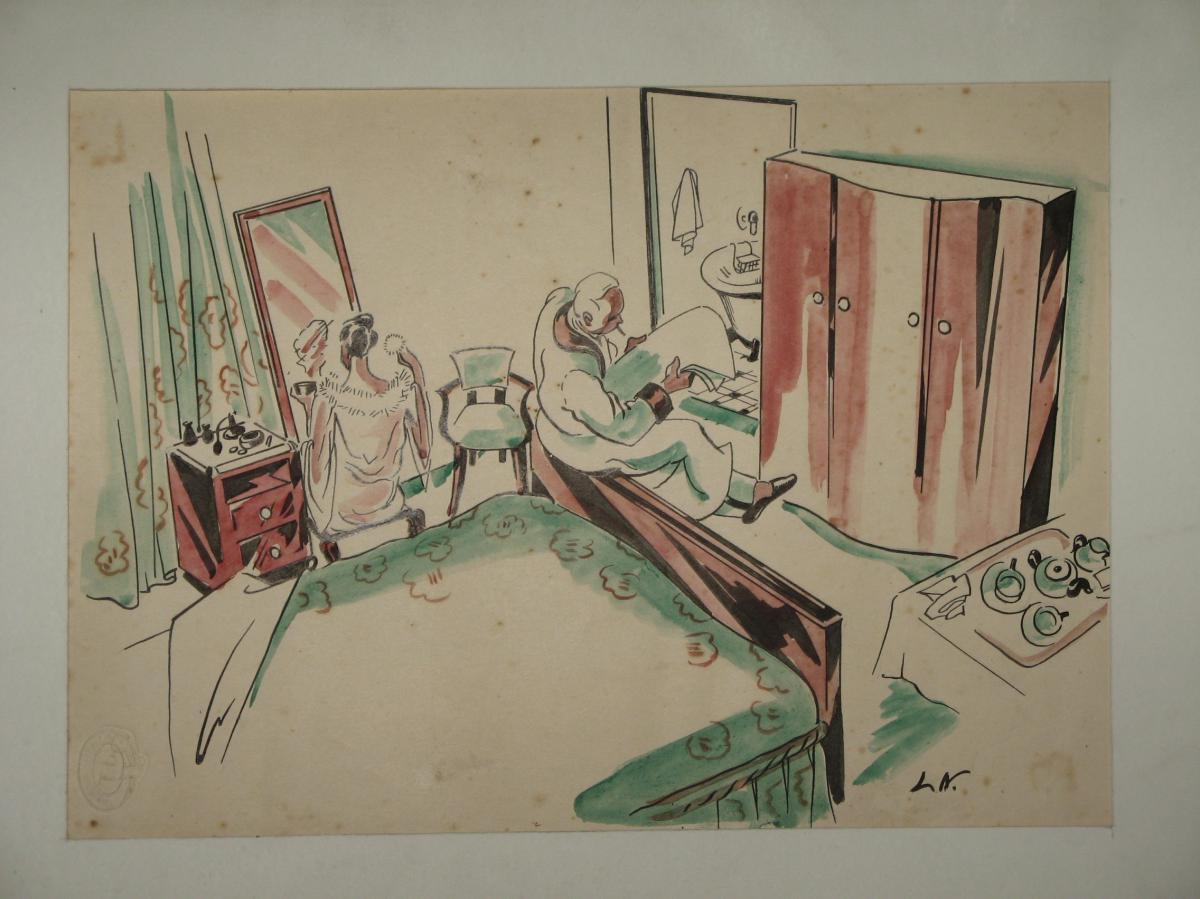 Dessin, Scène De Chambre, époque 20ème.-photo-2
