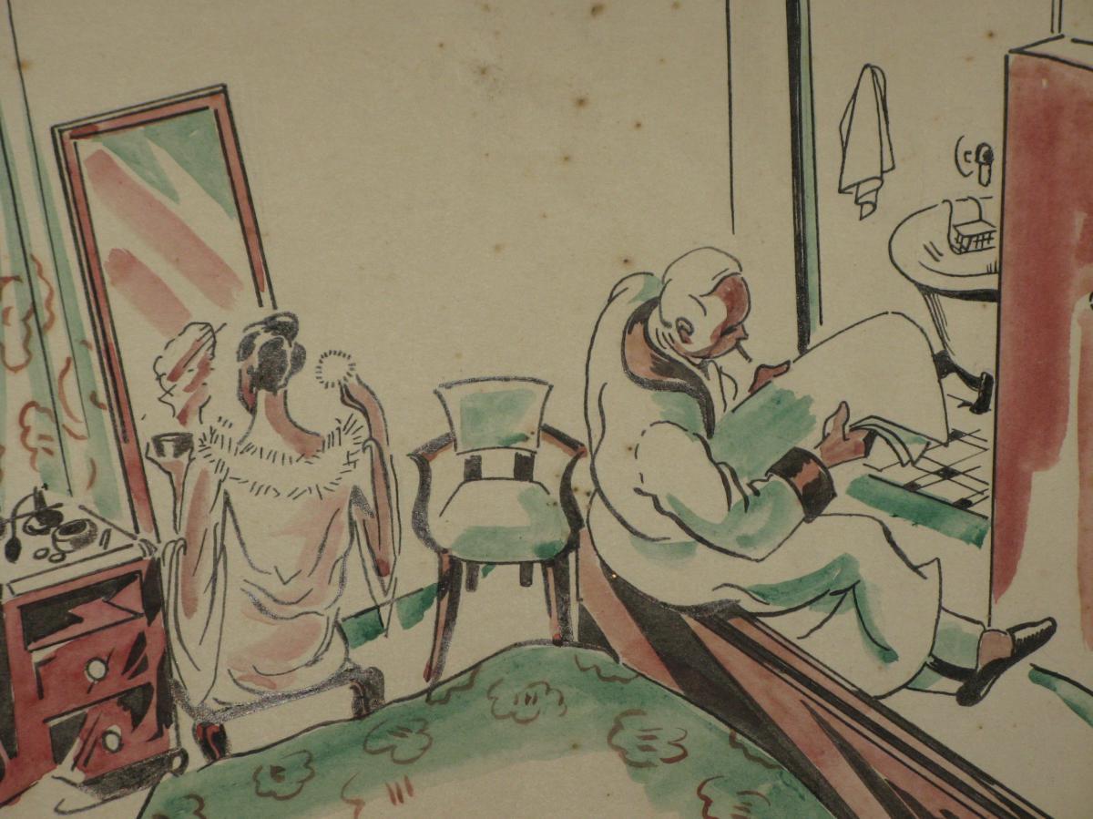 Dessin, Scène De Chambre, époque 20ème.-photo-3