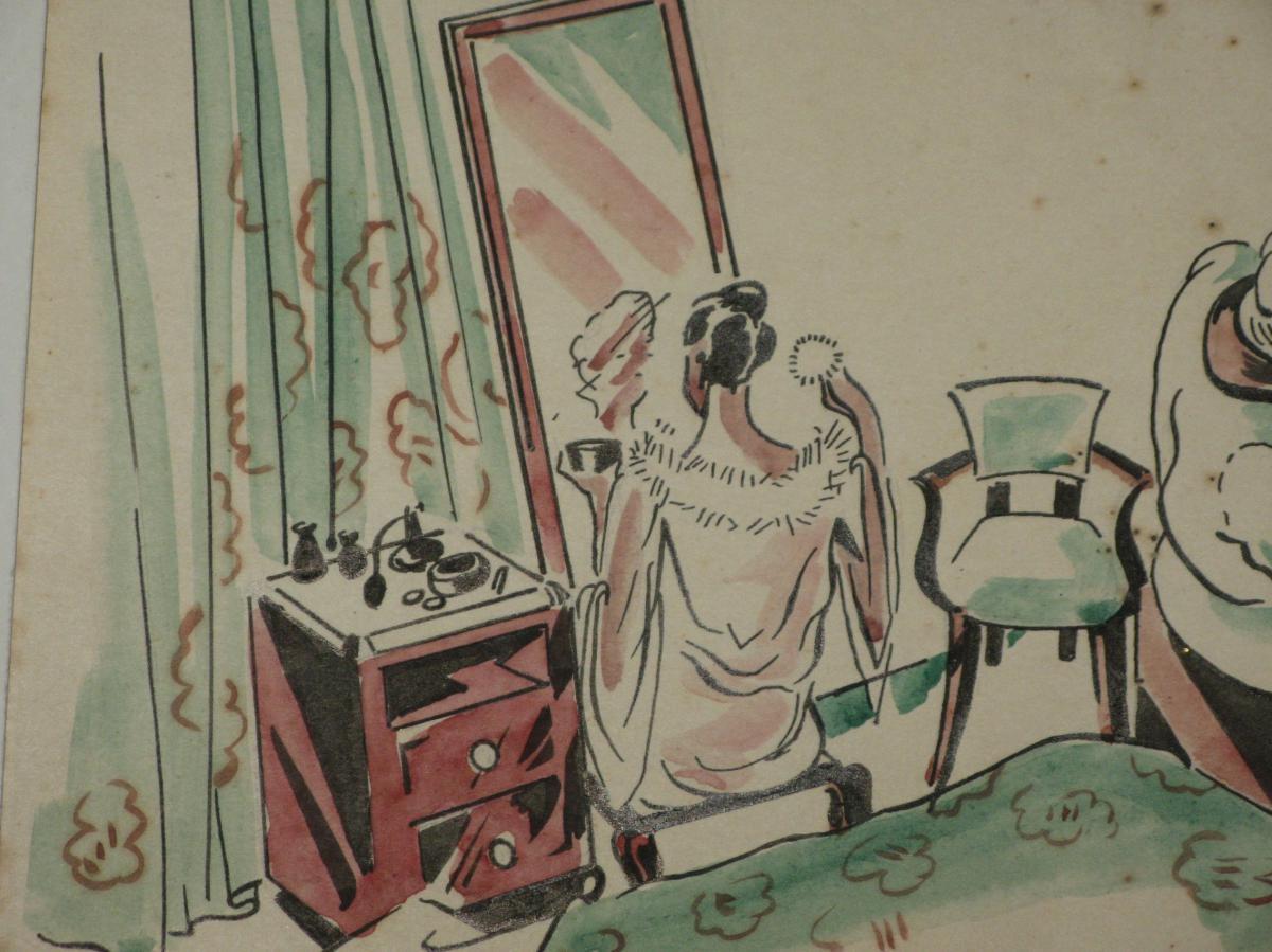 Dessin, Scène De Chambre, époque 20ème.-photo-4