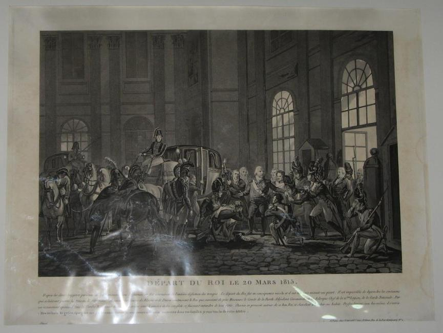 Departure Of The King Louis XVIII, Engraving, 19th Century.